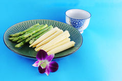 Asparagus And Corn On A Plate Stock Photo