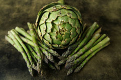 Asparagus and an artichoke. A still life of an aritchoke and asparagus on a textured background royalty free stock image