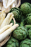 Asparagus and artichokes Stock Image