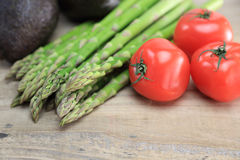 Asparagus,avocados and tomatoes Royalty Free Stock Photo