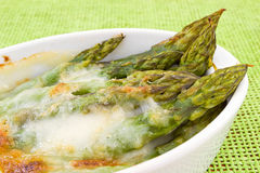 Asparagus baked with béchamel Stock Image