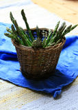 Asparagus in basket Royalty Free Stock Photos