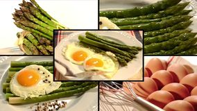 Asparagus bismarck style, collage stock video