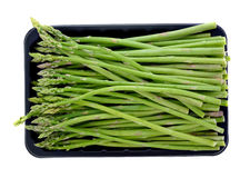 Asparagus in black plastic tray Stock Photo