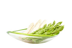 Asparagus in bowl on white background Royalty Free Stock Photos