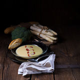 Asparagus  broccoli cream soup Royalty Free Stock Photography
