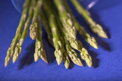 Asparagus. Bunch of asparagus on a blue background Royalty Free Stock Image