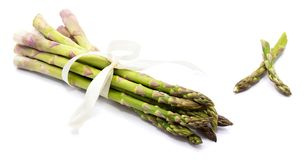 Asparagus. Bunch of raw asparagus tied with a creamy knot and two cut pieces isolated on white backgroundn Royalty Free Stock Photography