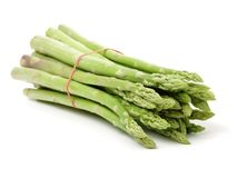 Asparagus Bundles. Isolated on white background Royalty Free Stock Photo