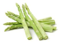 Asparagus Bundles. Isolated on white background Royalty Free Stock Photography
