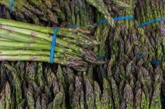Asparagus Bundles at Vegetable Stall Closeup Stock Photography