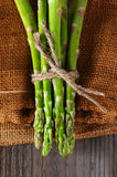 Asparagus on Burlap Royalty Free Stock Images