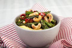 Asparagus and Cashew Stir Fry Royalty Free Stock Images
