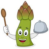 Asparagus Character with Tray & Spoon stock images