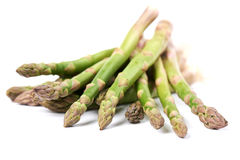 Asparagus. Close-up of freshly harvested asparagus on white background Royalty Free Stock Photos