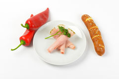 Asparagus coated ham, peppers and roll Stock Photography