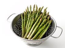 Asparagus in Colander. Fresh Picked Asparagus in Colander Stock Photo
