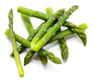 Asparagus. Cooked boiled asparagus heap isolated on white backgroundn Stock Image