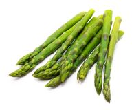 Asparagus. Cooked boiled asparagus stack isolated on white backgroundn royalty free stock image
