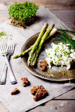 Asparagus and cream cheese spread with herbs Royalty Free Stock Photo