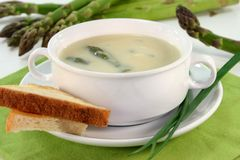 Asparagus cream soup Stock Image
