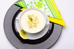 Asparagus cream soup Stock Photo
