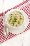 Asparagus cream soup with asparagus tips Stock Photo