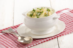 Asparagus cream soup with asparagus tips Royalty Free Stock Image
