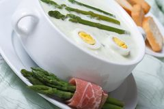 Asparagus cream soup with eggs closeup horizontal Stock Image