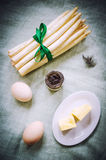 Asparagus dish ingredients Royalty Free Stock Images