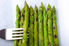 Asparagus with droplets of steam stock photo