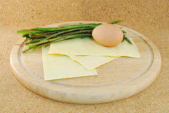 Asparagus with egg noodles Royalty Free Stock Image
