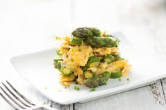 Asparagus with eggs Royalty Free Stock Photo