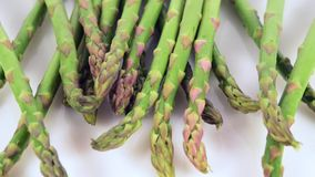 Asparagus falling stock video footage