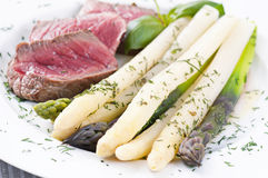 Asparagus with fillet mignon Royalty Free Stock Image