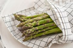 Asparagus. Fresh Asparagus. Green Asparagus. Bunches of green asparagus royalty free stock photos