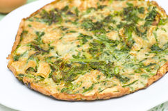 Asparagus frittata. Variant of the classical recipe with the addition of asparagus Stock Photos