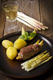Asparagus full beefs olive Royalty Free Stock Photo