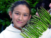 Asparagus Girl Royalty Free Stock Photography