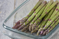 Asparagus in glass dish Royalty Free Stock Photography