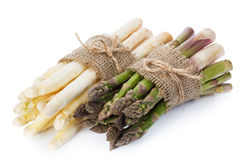 Asparagus. Green and white asparagus on white background royalty free stock photos