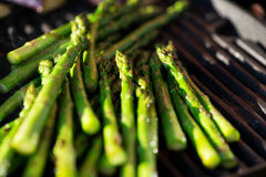 Asparagus on grill macro Stock Image