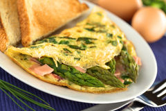 Asparagus and Ham Omelette Royalty Free Stock Photography