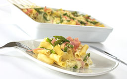 Asparagus-Ham-Pasta Casserole Royalty Free Stock Images