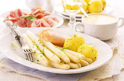 Asparagus with Ham and Potato Royalty Free Stock Photos
