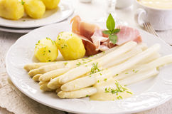 Asparagus with Ham and Potatoes Stock Images