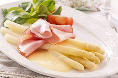 Asparagus with Ham and Salad Stock Photography