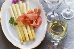 Asparagus with ham Stock Images