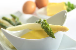 Asparagus and Hollandaise Sauce Stock Photos