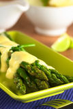 Asparagus with Hollandaise Sauce Royalty Free Stock Photography